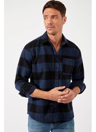 DeFacto Ekose Uzun Kollu Regular Fit Oduncu Gömlek Lacivert